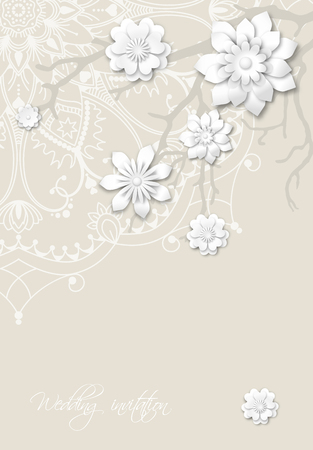 motive: Romantic wedding invitation card with mandala motive and abstract branches with 3d white flowers Illustration