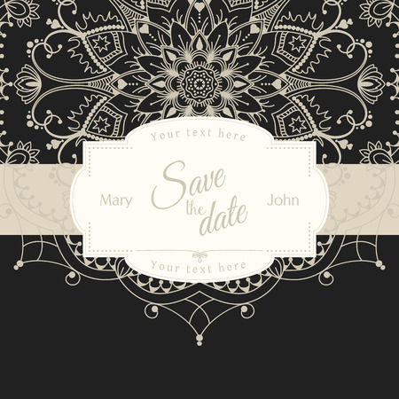 motive: Romantic wedding invitation card with white mandala on black background, ethnic or boho traditional motive, with text Save the date which can be easy replaced