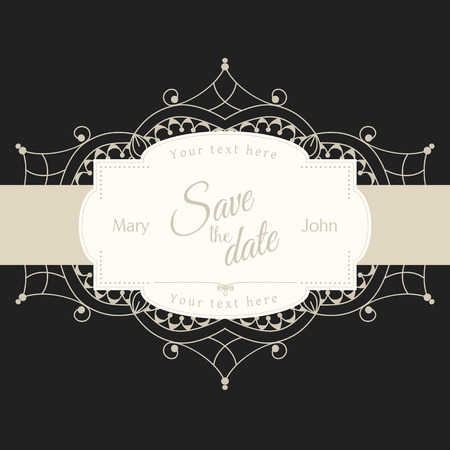 replaced: Romantic wedding invitation card with white lace motive on black background, ethnic or boho traditional motive, with text Save the date which can be easy replaced
