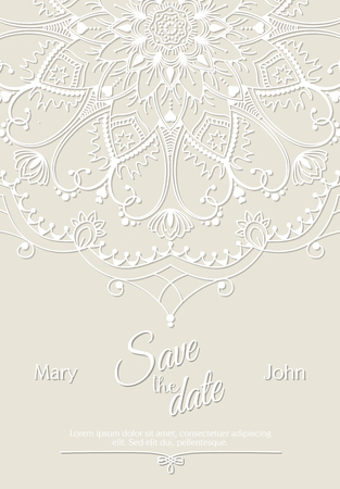 replaced: Romantic wedding invitation card with white mandala on beige background, ethnic or boho traditional motive, with text Save the date which can be easy replaced