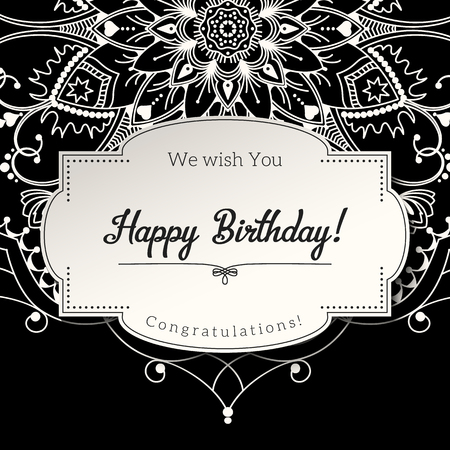 motive: Romantic birthday greeting card with white mandala on black background, ethnic or boho traditional motive, with text Save the date which can be replaced
