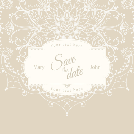 motive: Romantic wedding invitation card with white mandala on beige background, ethnic or boho traditional motive, with text Save the date which can be replaced
