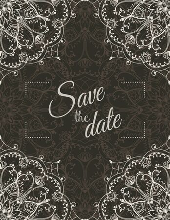 motive: Romantic wedding invitation card with beige mandala on dark background, ethnic or boho traditional motive, with text Save the date which can be replaced