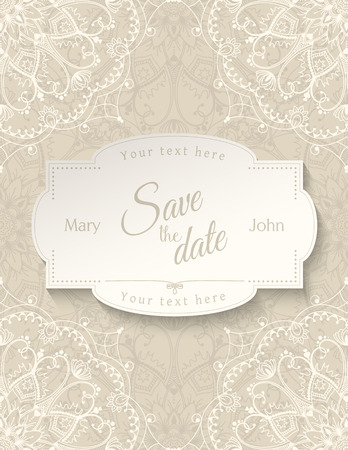 motives: Romantic wedding invitation card with white lace mandala on beige background, ethnic or boho traditional motive, with text Save the date which can be replaced