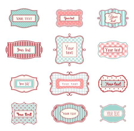 label: Set of romantic vintage hand drawn labels in farmhouse style, in red and light blue colors, with polka dot and striped texture, on white background, with copy space Illustration