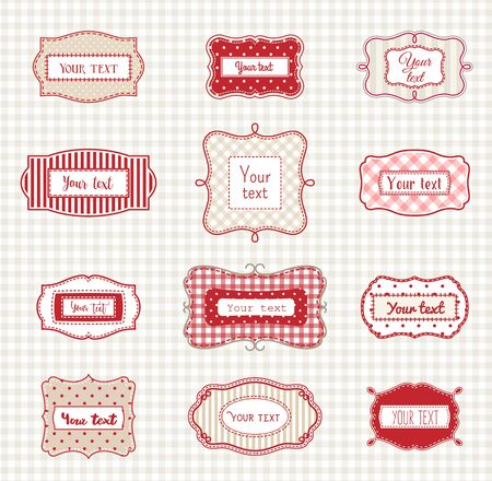 replaced: Set of romantic vintage hand drawn labels in farmhouse style, in red, white and beige colors, with polka dot and striped texture, with copy space, sample text can be easy replaced