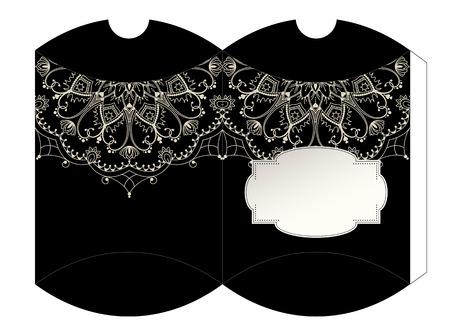 luxury template: Elegant luxury black gift box template with mandala motive, vector illustration, eps 10 Illustration