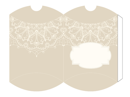 motive: Elegant luxury beige gift box template with mandala motive, vector illustration, eps 10