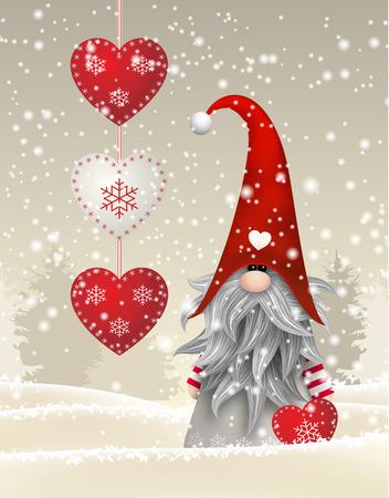 Nisser in Noorwegen en Denemarken, Tomtar in Zweden of Tonttu in het Fins, Scandinavisch folklore elfen, nordic kerst motief, Tomte staan in de winter landschap, vector illustratie, eps 10 met transparantie