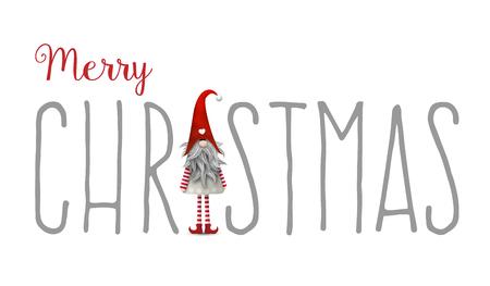 Inscripción Feliz Navidad, con Gnome utiliza como letra I, aislado en fondo blanco, Tomte es símbolo escandinavo tradicional de Navidad, ilustración vectorial