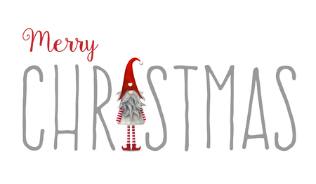 country christmas: Inscription Merry Christmas, with gnome used as letter I, isolated on white background, Tomte is traditional scandinavian symbol of Christmas, vector illustration