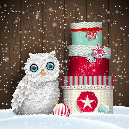 Nette weiße Eule mit Stapel von bunten Weihnachts-Geschenk-Boxen vor dunklem Holzwand, Urlaub Thema, Vektor-Illustration