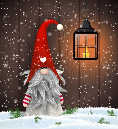 Nisser en Noruega y Dinamarca, Tomtar en Suecia o Tonttu en finlandés, elfos folclore escandinavo, nordic motivo navidad, Tomte de pie delante de la pared de madera de color marrón en la nieve, ilustración vectorial