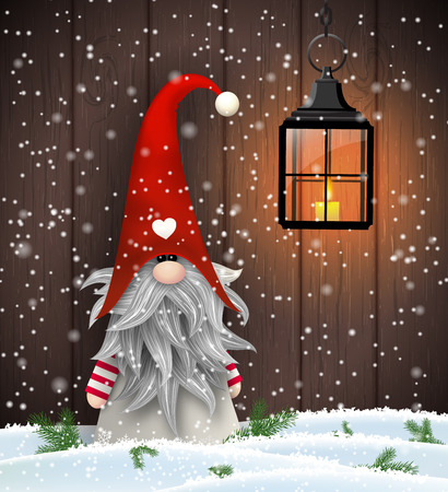 Nisser in Norway and Denmark, Tomtar in Sweden or Tonttu in Finnish, Scandinavian folklore elves, nordic christmas motive, Tomte standing in front of brown wooden wall in snow, vector illustration