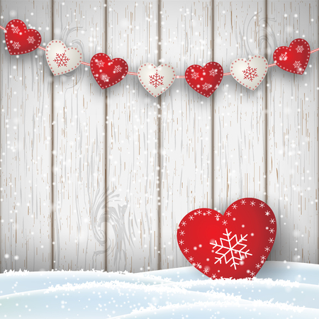 Christmas motive in scandinavian style, red and white decorated hearts in front of white wooden wall and snow, vector illustration