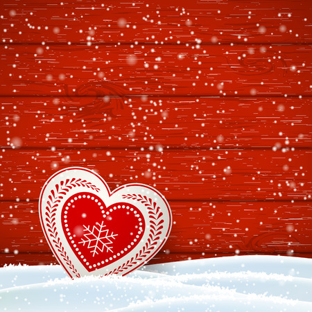 scandinavian christmas: Christmas motive in scandinavian style, red and white decorated heart in front of red wooden wall and snow, vector illustration Illustration