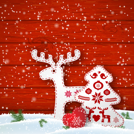 christmas motive: Christmas motive in scandinavian style, red and white folk decorations in front of wooden wall, deer, tree and heart, vector illustration Illustration