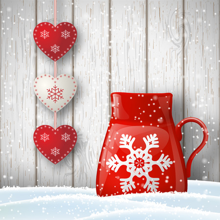 cups of coffee: Christmas theme, red cup in snow with cute decoration in front of gray wooden wall, illustration