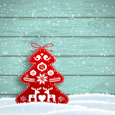 Christmas decoration in scandinavian style, red rich decorated tree in front of blue wooden wall, vector illustration Illustration