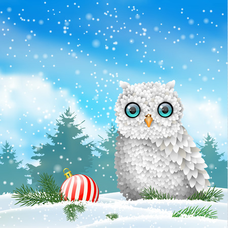 christmas owl: Christmas theme, cute white owl sitting in snow, in front of winter snowy forrest landscape, vector illustration Illustration