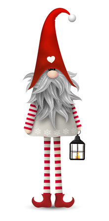 Nisser in Norway and Denmark, Tomtar in Sweden or Tonttu in Finnish, Scandinavian folklore elves, nordic traditional christmas motive, Tomte with lanternisolated on white background Stock Illustratie
