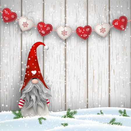 Tomte standing in front of gray wooden wall in snow, with red decorated hearts. Nisser in Norway and Denmark, Tomtar in Sweden or Tonttu in Finnish are scandinavian folklore elves, nordic christmas motive, vector illustration Иллюстрация