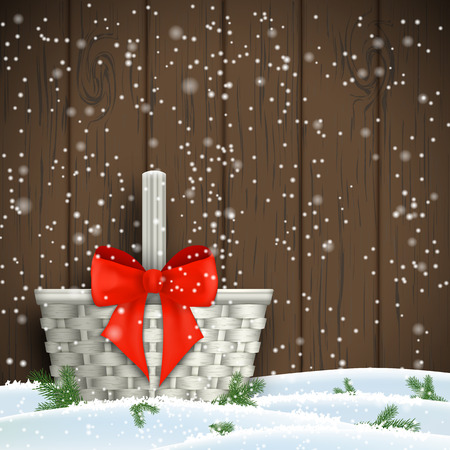 motive: White basket with red ribbon in front of dark brown obsolete wooden wall, christmas motive, vector illustration