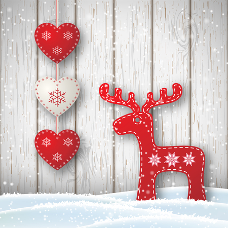 log on: Christmas motive in scandinavian style, red and white decorations in shape of hearts and reindeer in front of white wooden wall, vector illustration