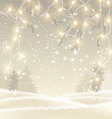 sillhouette: Christmas background in sepia tone, winter landscape with sillhouette of trees and hanging decorative electric lights on branches, vector illustration