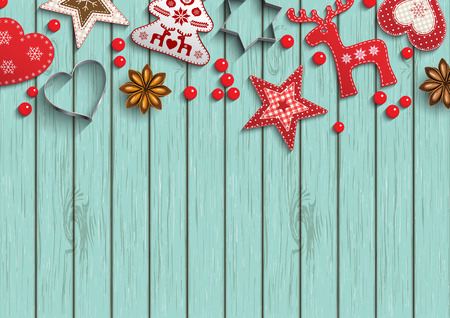 christmas motive: Christmas background, small scandinavian styled red decorations lying on blue wooden background, inspired by flat lay style, vector illustration
