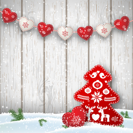 copy text: Christmas motive in scandinavian style, red and white decorations in shape of hearts and tree in front of white wooden wall, vector illustration