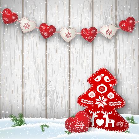 Motivo de la Navidad en estilo escandinavo, decoraciones rojas y blancas en forma de corazones y el árbol en frente de la pared de madera blanca, ilustración vectorial