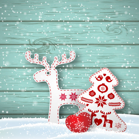 od: Christmas background, small scandinavian styled red and white decorations in front od blue wooden wall, vector illustration