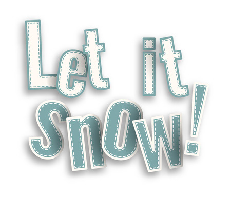 let it snow: Let it snow, blue text on white background with 3d effect, vector illustration Illustration