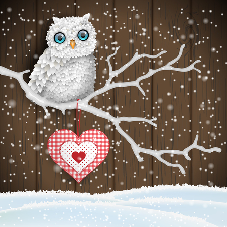 Christmas motive, cute white owl sitting on dry branch in front of brown wooden wall, vector illustration Illustration