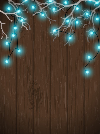 wall hanging: Christmas background, blue electric lights on dark wooden wall hanging in white dry branches, vector illustration