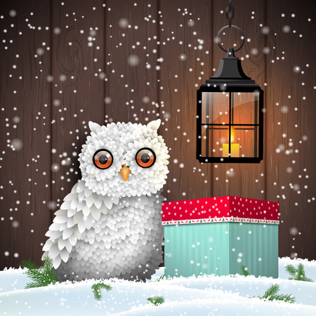 brown box: Cute white owl with colorful christmas gift box and shining lantern, in front of dark brown wooden wall, holiday theme, vector illustration
