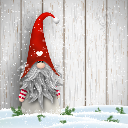 Nisser in Norway and Denmark, Tomtar in Sweden or Tonttu in Finnish, Scandinavian folklore elves, nordic christmas motive, Tomte standing in front of white wooden wall in snow Stock Illustratie