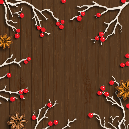 lay: Christmas background in rustic style, white branches with red berries and anise stars on dark brown wooden background, inspired by flat lay styling, vector illustration, eps 10 with transparency