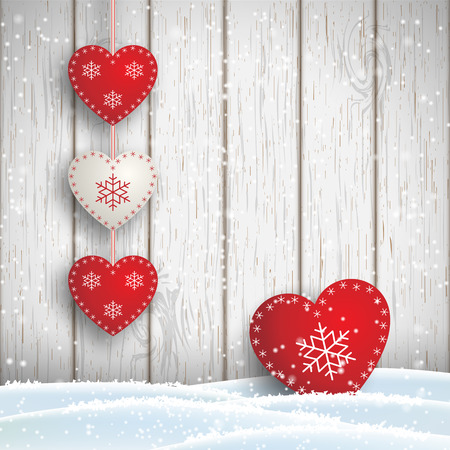 christmas motive: Christmas motive in scandinavian style, red and white decorated hearts in front of white wooden wall and snow, vector illustration