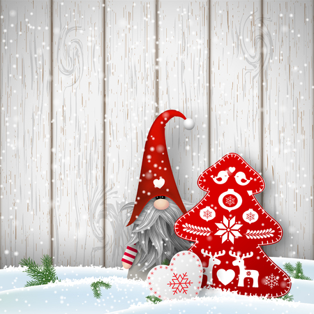 Nisser in Norway and Denmark, Tomtar in Sweden or Tonttu in Finnish, Scandinavian folklore elves, nordic christmas motive, Tomte standing in front of gray wooden wall in snow, with decorated heart and tree, vector illustration Vettoriali