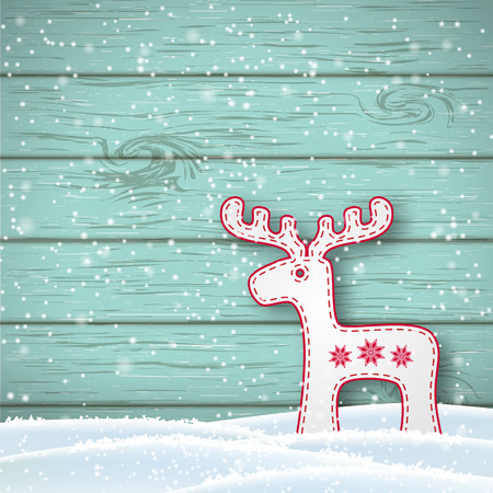 christmas motive: Christmas motive in scandinavian style, white reindeer in front of blue wooden wall standing in snow, with copy space, vector illustration