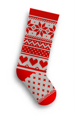 knitted christmas stocking with red patterns on white background vector illustration stock vector 63535924 - White Knit Christmas Stockings