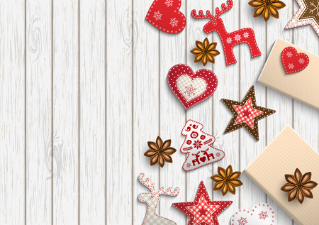 christmas motive: Christmas background, small scandinavian styled red decorations lying on white wooden background, inspired by flat lay style, vector illustration Illustration