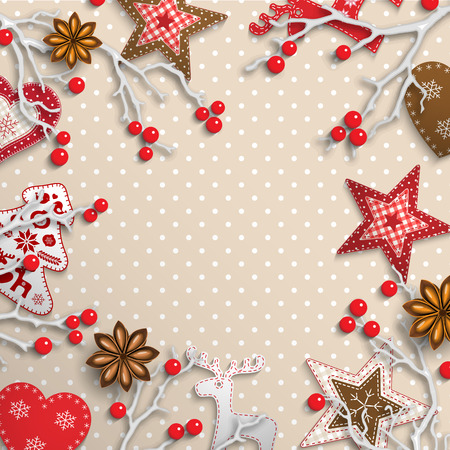 styled: Christmas background, small scandinavian styled red decorations, white branches and red berries lying on beige polka dot patterned background, inspired by flat lay style, vector illustration,