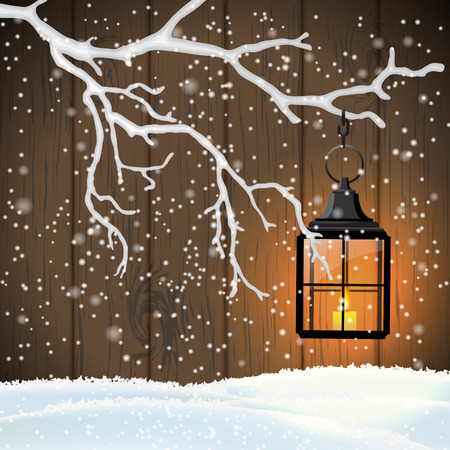 scandinavian christmas: Christmas motive, vintage shining lantern hanging on dry branch in front of brown wooden wall, vector illustration