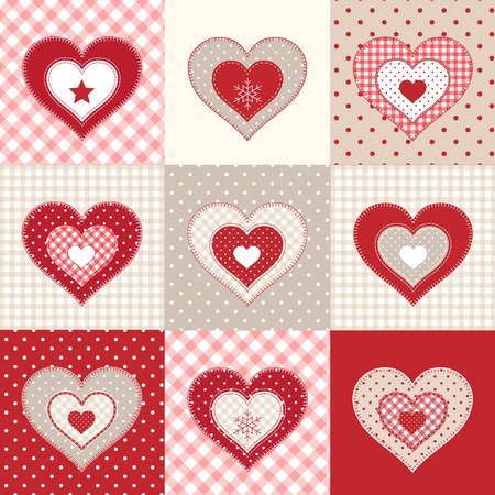 country style: Set of decorative red hearts on various patterns, winter motive, illustration in country style, vector