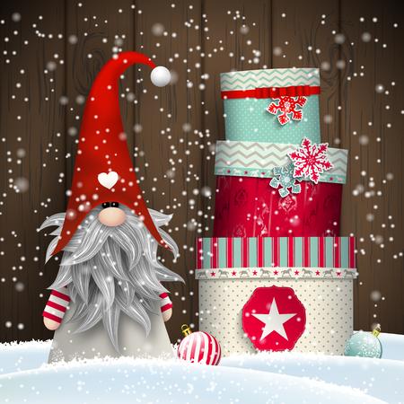 Nisser in Noorwegen en Denemarken, Tomtar in Zweden of Tonttu in het Fins, Scandinavisch folklore elfen, nordic kerst motief, Tomte staan ten overstaan van oude houten muur in de sneeuw, met een stack van kleurrijke geschenk dozen, vector illustratie Stock Illustratie