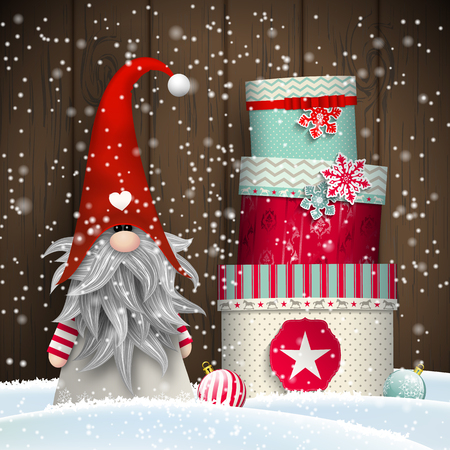 dark elf: Nisser in Norway and Denmark, Tomtar in Sweden or Tonttu in Finnish, Scandinavian folklore elves, nordic christmas motive, Tomte standing in front of old wooden wall in snow, with stack of colorful gift boxes, vector illustration