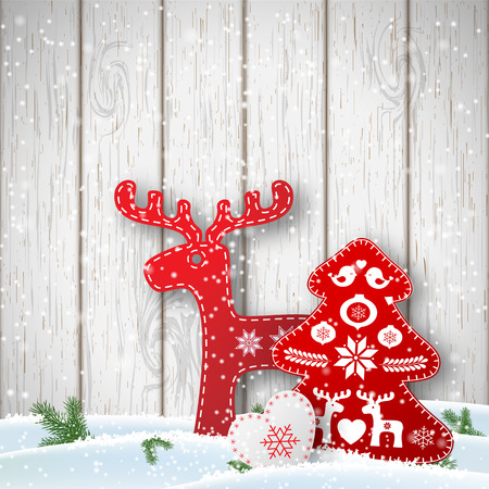od: Christmas background, small scandinavian styled red and white decorations in front od white wooden wall, vector illustration, eps 10 with transparency